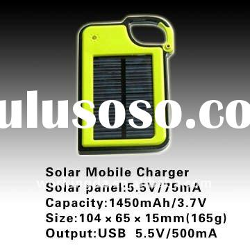 1450mAh Portable Universal Solar Powered Battery Bank for Mobile Phones with USB Output