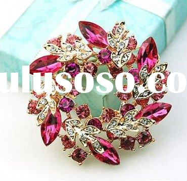 Fashion jewelry crystal rhinestone colourful flower brooch