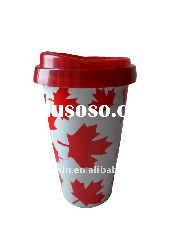 Very popular new design single or double wall porcelain mug with silicone lid in 2011