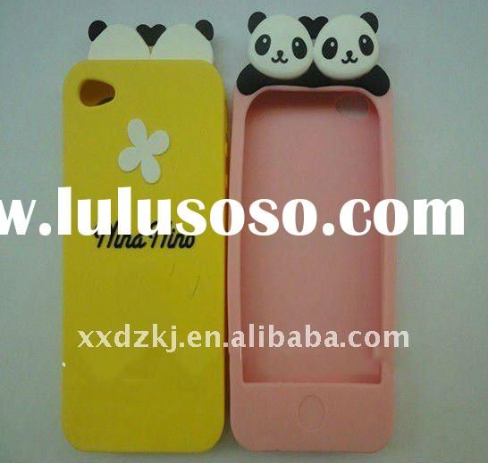 panda silicone mobile phone case for iphone 4 in dripping mold logo