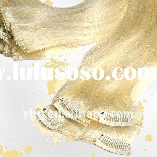 "22"" Clip in Human Hair Extensions, #613-Lightest blond"