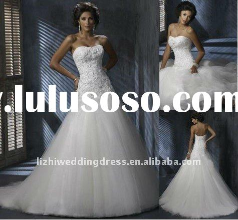 2011 best selling elegant strapless A-line white tulle appliqued designer bridal wedding dress