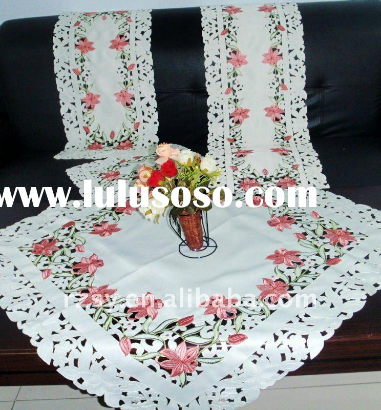 100 satin embroidery table cloth with cutwork 1 Material100 satin other