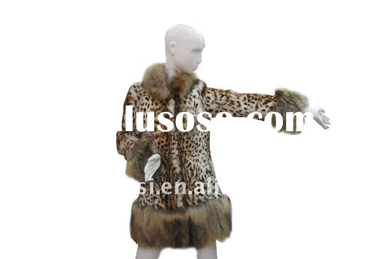 Hot Sale Kid Skin Fur Coat wit raccoon fur Collar No.1023456930