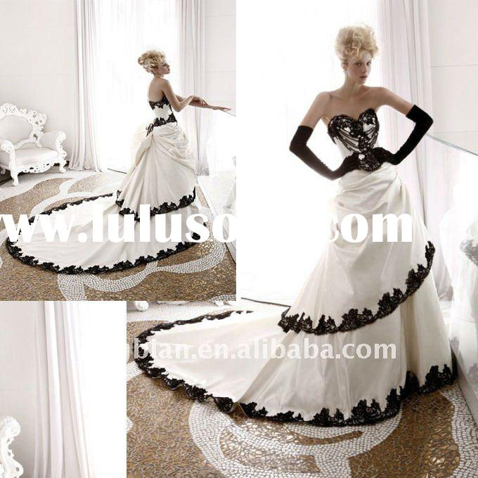 Taffeta Strapless Sweetheart A Line 2012 Wedding Dress with Black lace