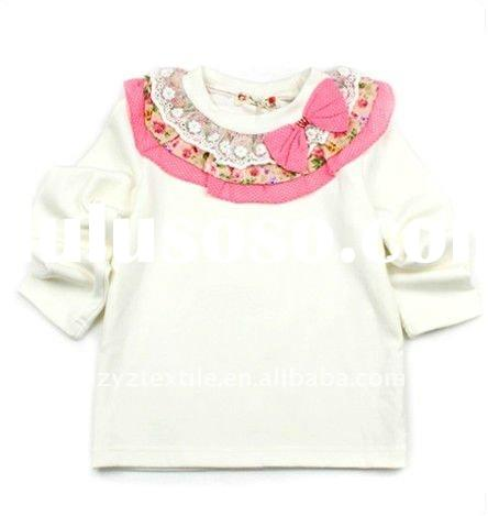 2011New style fashion design with bowknot decoration girls long sleeves children t-shirt child wear