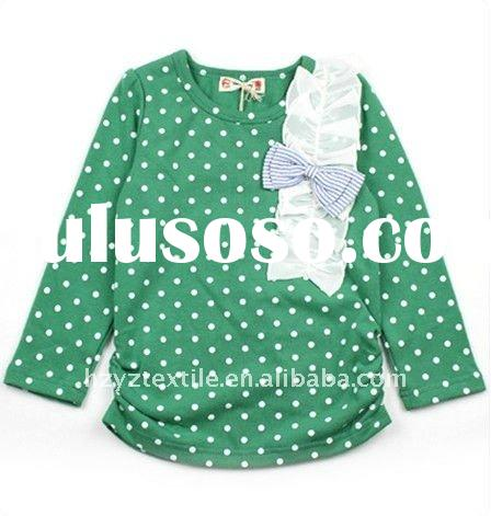 2011New style fashion design with dots decoration girls long sleeves children t-shirt child wear kid