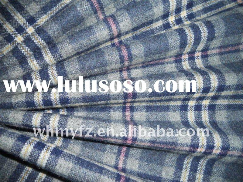 blue and pink plaid melton Fabric for garments