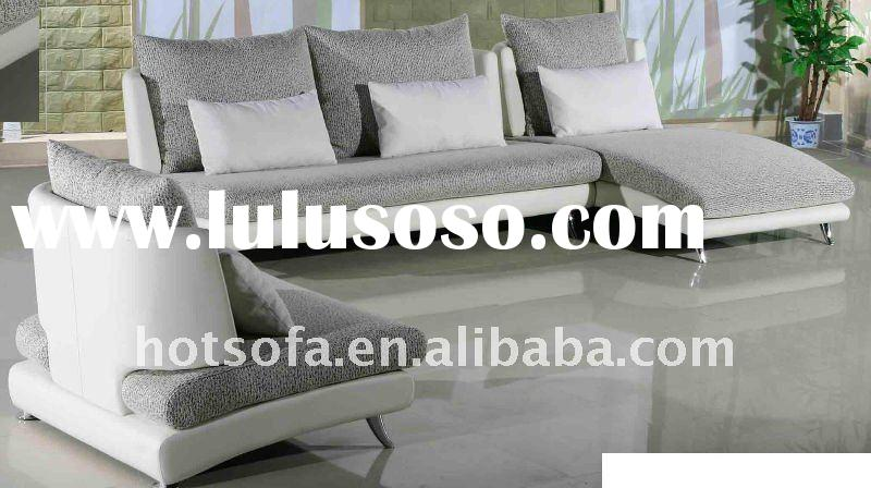 leather & fabric corner sofa for living room N08
