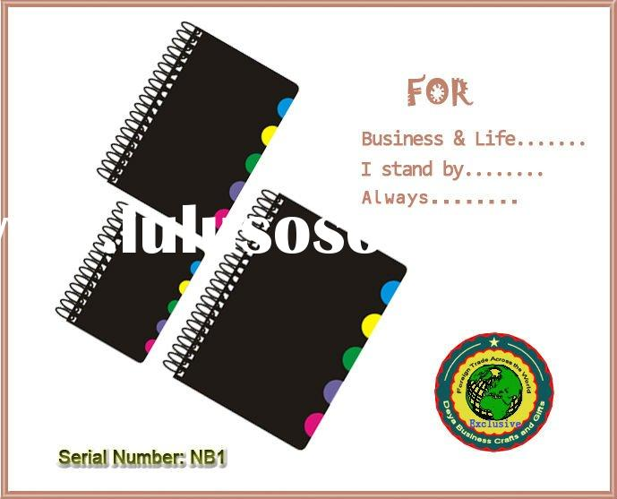 Black hard cover spiral notebook with multiple sizes