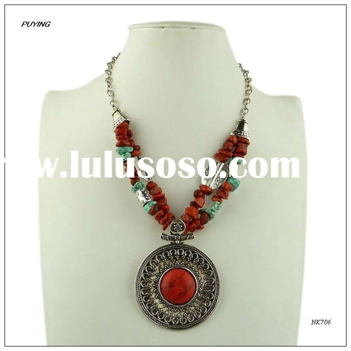 Ethnic Turkish Style Red Stone Lady Necklace, Fashion Turkish Jewellery