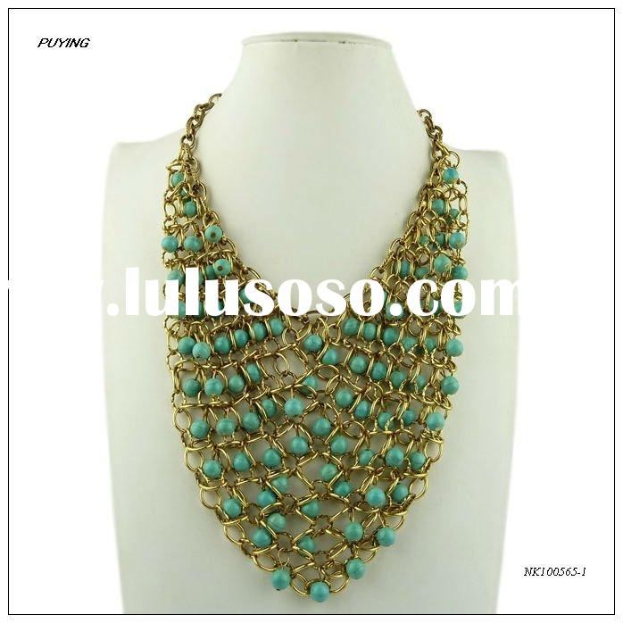 High End Handmade Antique Gold Alloy Turquoise Lady Costume Necklace, Fashion Costume Jewelry