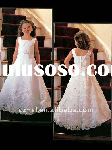 Latest A-line Squar Lace Children Party Dresses Frocks Designs SL-x0208