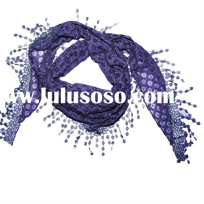 2011 Fashion cotton scarf with lace detail