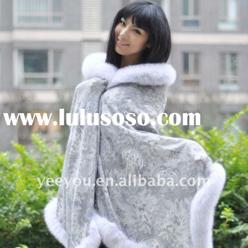 2011 women/lady luxious Cashmere Cape with  silver fox fur side C20801L