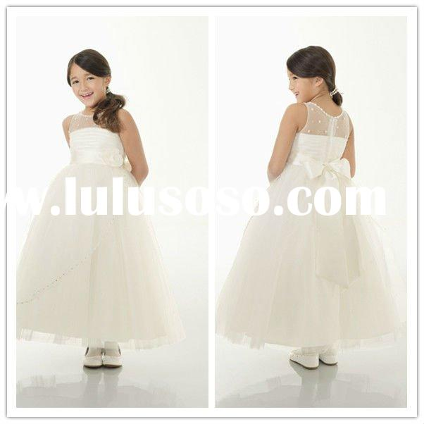 High Quality Flower Sash Jewel Organza A-line flower girl tulle dress