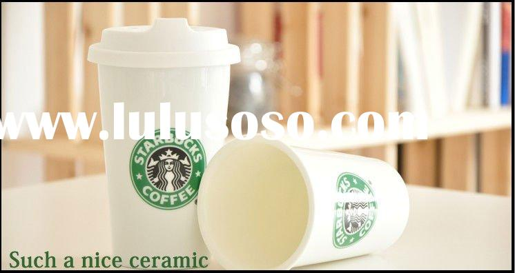 Double Wall Ceramic Coffee Cup with Silicone Lid