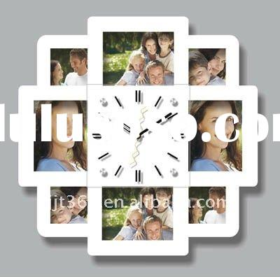 Quartz M1104B photo frame wooden wall clock promotion gift