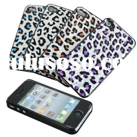 Bright Lepard Leather skin Hard Back Case for iPhone 4 4G,