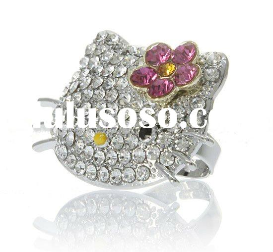 hello kitty face ring fashion crystal ring