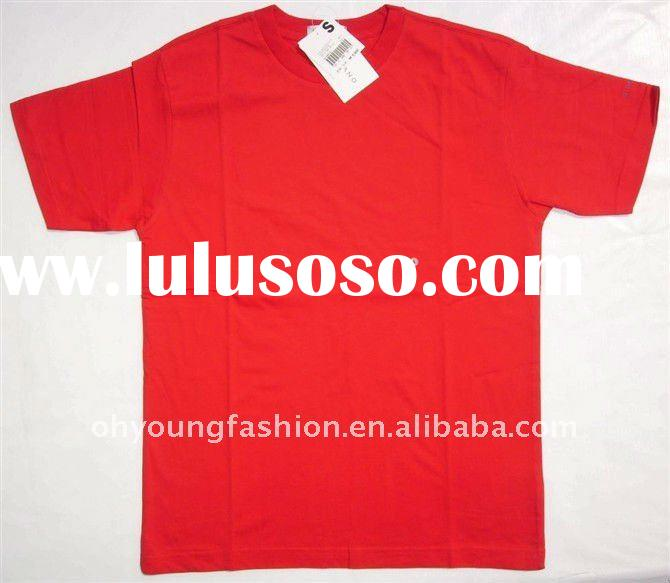 wholesale pure cotton red blank mens t shirt short sleeve O neck