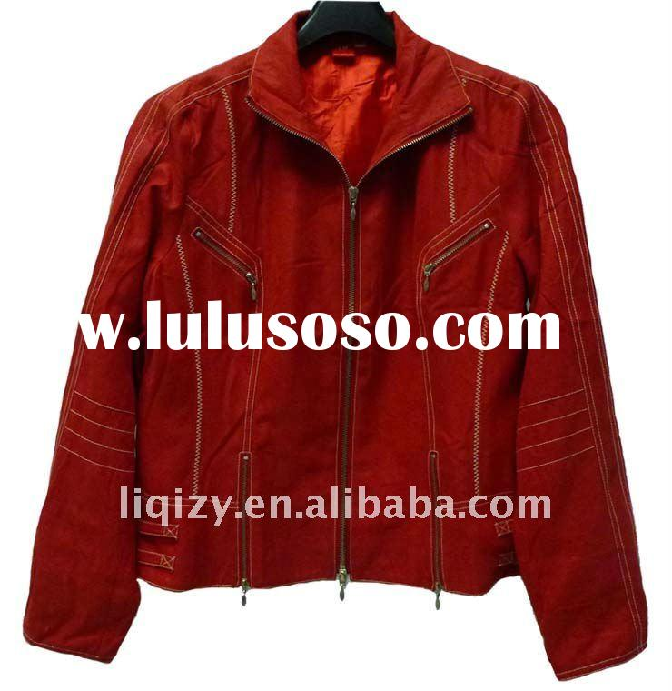 Autumn red leather coats woman