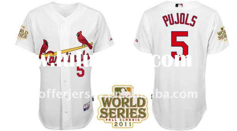 St. Louis Cardinals 5# Pujols White Authentic Cool Base Baseball Jersey 44-56 w/2011 World Series -