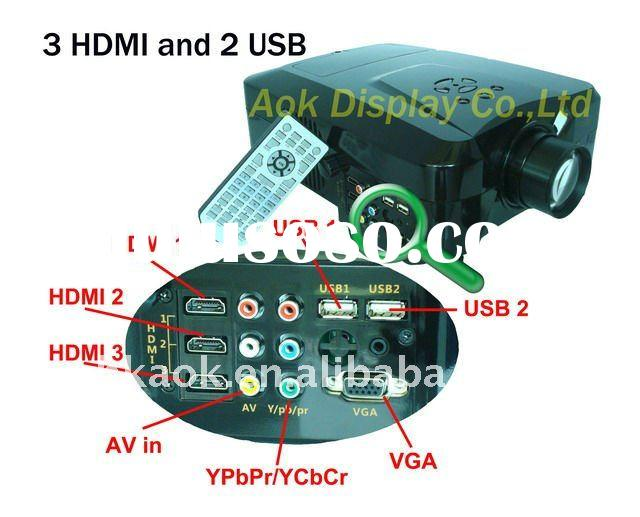 3 HDMI and 2 USB HD 1080P  LED Home Theater Projector LED lamp lasts 50000 hours support  hard disk!