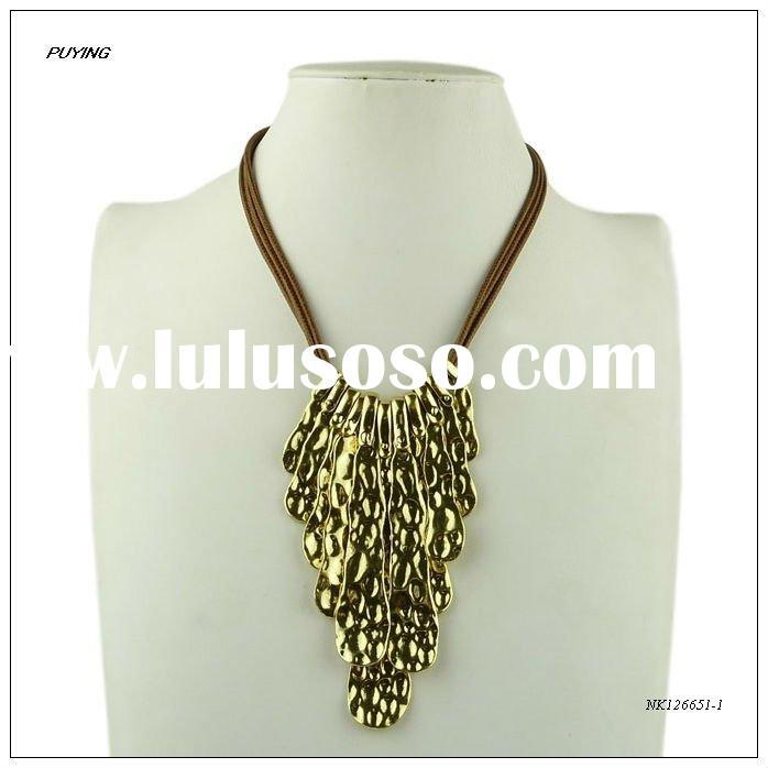 Fashion Lady Gold-plated Alloy Leather Chain Necklace, Fine Metal Jewelry