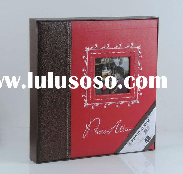Classic leather wedding photo album with self-adhesive sheet