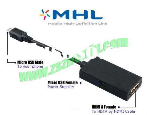 Mirco USB MHL to HDMI Adapter Cable for Samsung i9100 galaxy S2 and HTC