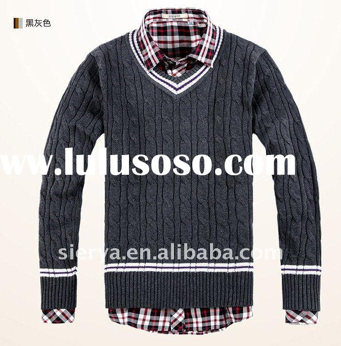 men's fashion cotton cable pattern V neck sweater