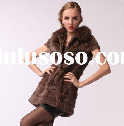 0208 Women Fashion slim Rabbit fur vest gilet sleeveless garment suit with fox fur collar VTRT0208