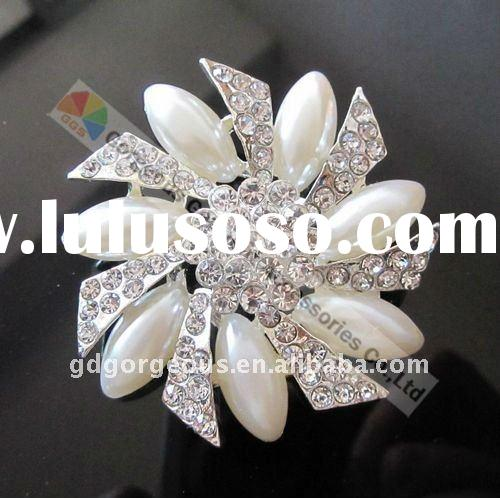 Wedding Metal Pearl Rhinestone Brooch
