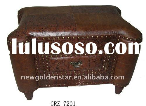 2011 promotional products wood leather ottoman