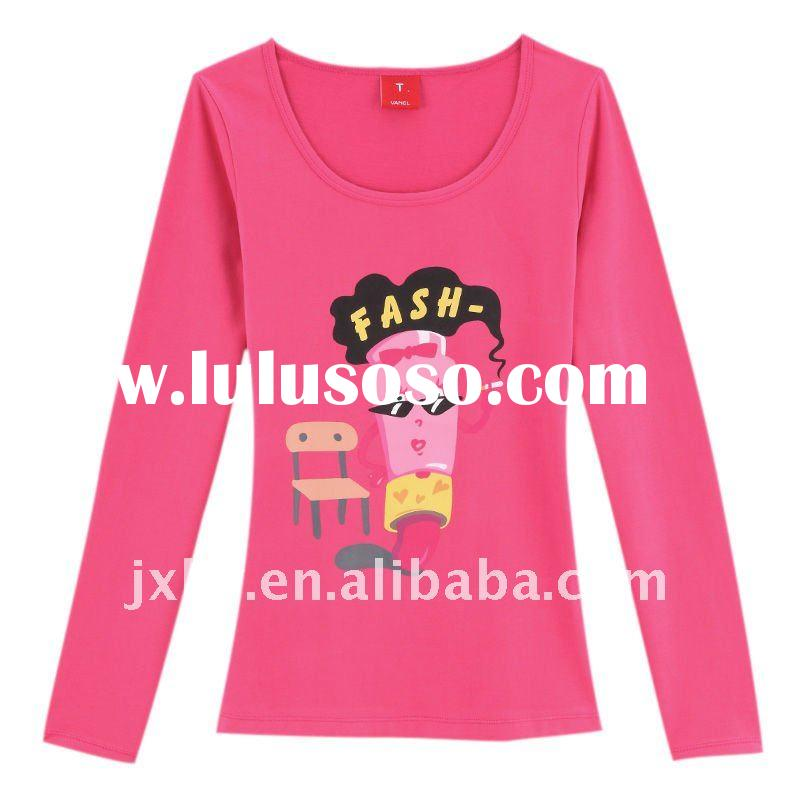 Direct manufactory silk screen cute cartoon printed 140G women long sleeve o neck T-shirt