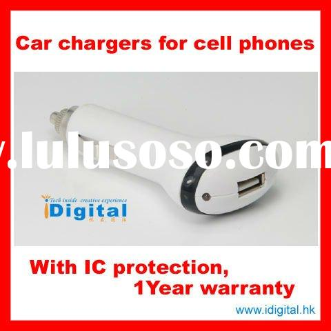 Hot-sell USB Car chargers for cell phones with 1 year warranty