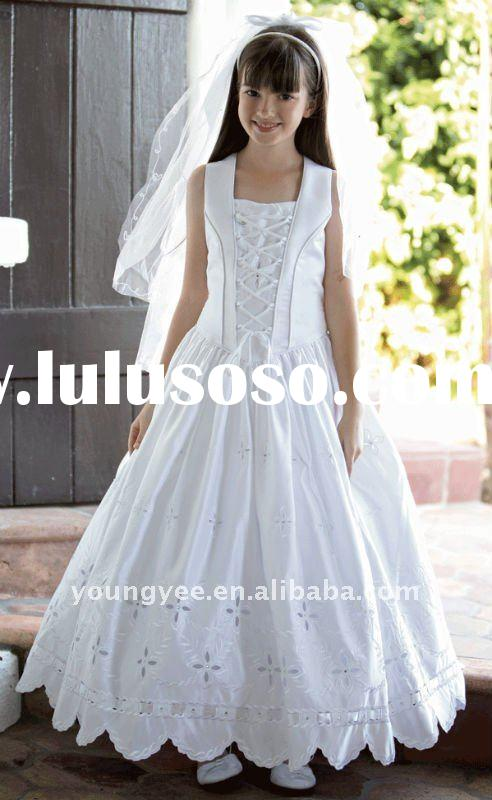 New style sleeve appiqued A-line white flower girl dress(FD10521)