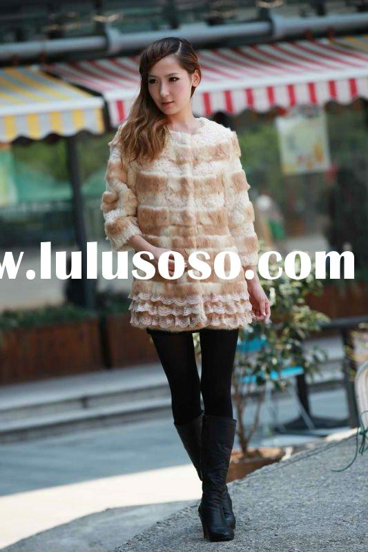 fashion rabbit fur coat for young ladies