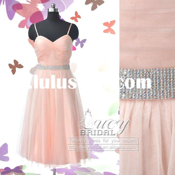 Real-Made High Quality Ruffle Satin Tulle Short Evening Dress ES3307