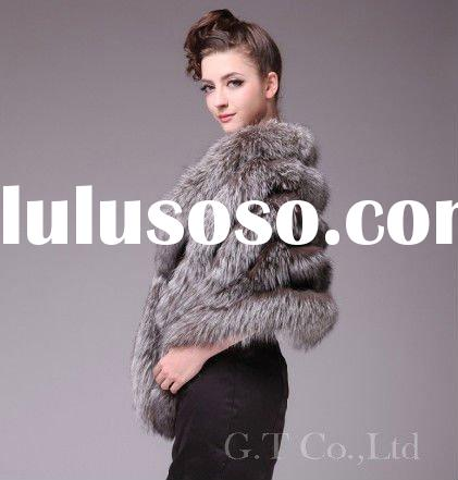 0204 women silver fox fur capes shawl stole poncho cape wrap wraps for winter