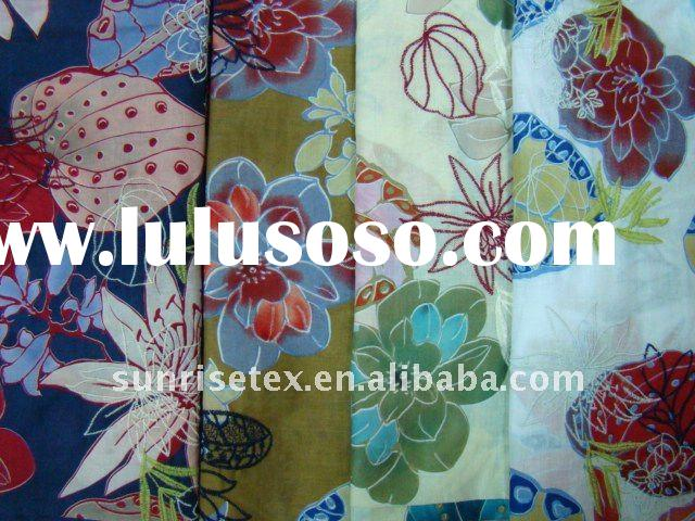 cotton voile fabric with  pretty printing and  embroidery