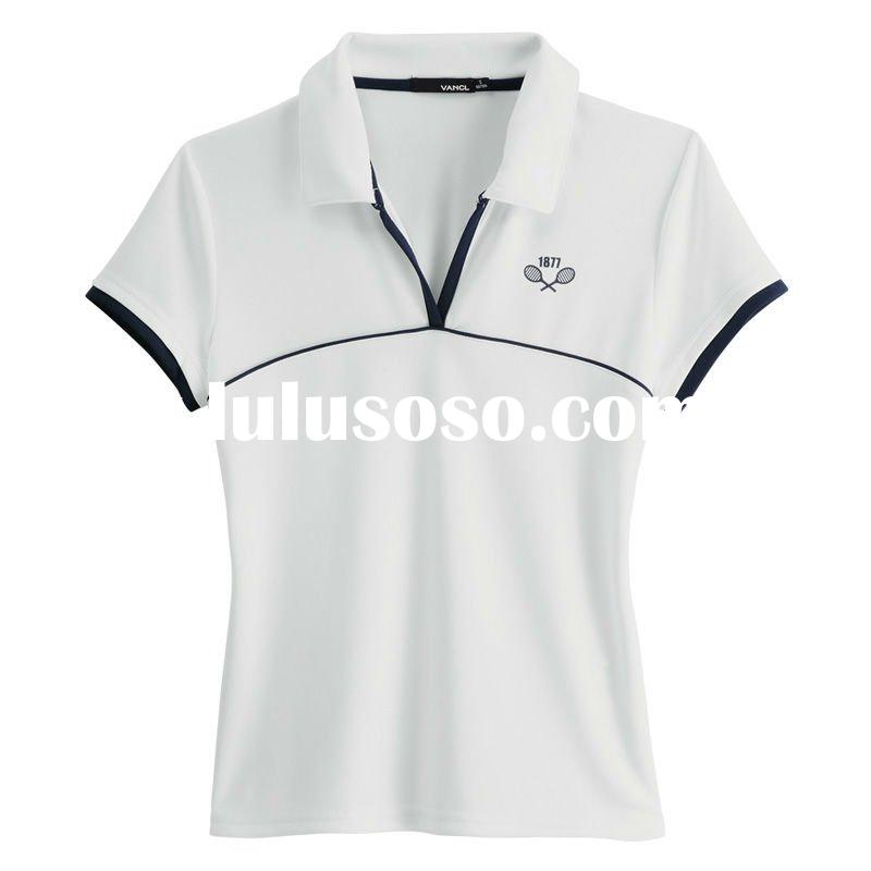2011 new style promotional short sleeve sport shirt polyester screen printed quick dry function v-ne