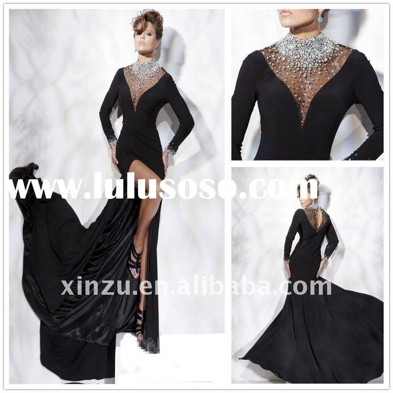 Exquisite Hand-beaded Illusion Collar Long Sleeve Evening Dress  T-3060