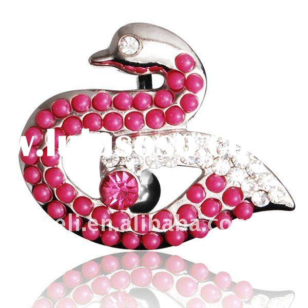 Fashion swan design top down navel belly button ring