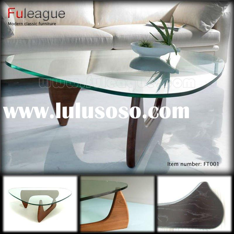 Modern Glass Top Wood Base Coffee Table FT001