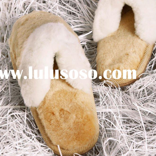 Woman fashion leather lady indoor slipper