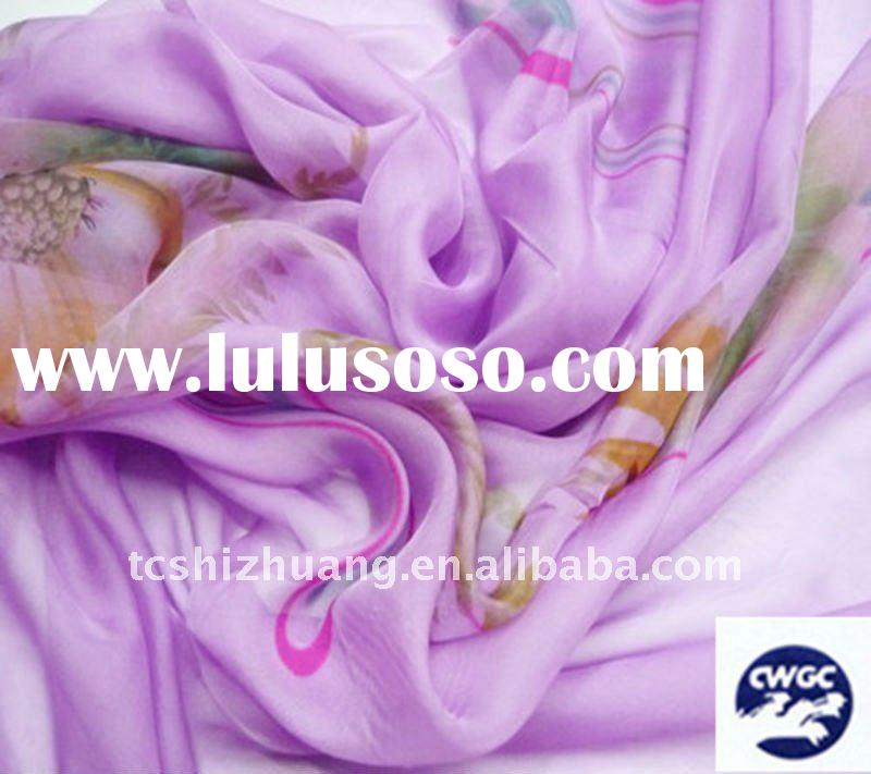 beautiful printed floral silk chiffon fabric for dress ,T-shirt ,scarf, shawl fabric
