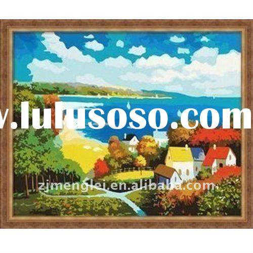 factory direct sale--high quality 30*40cm digital oil painting by numbers with CE--colorful autumn