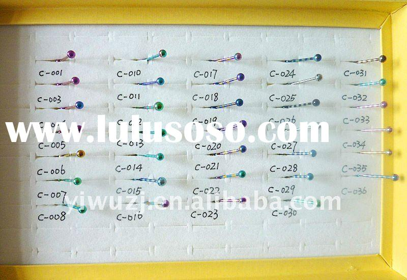 stripe colors tongue barbell   body jewelry